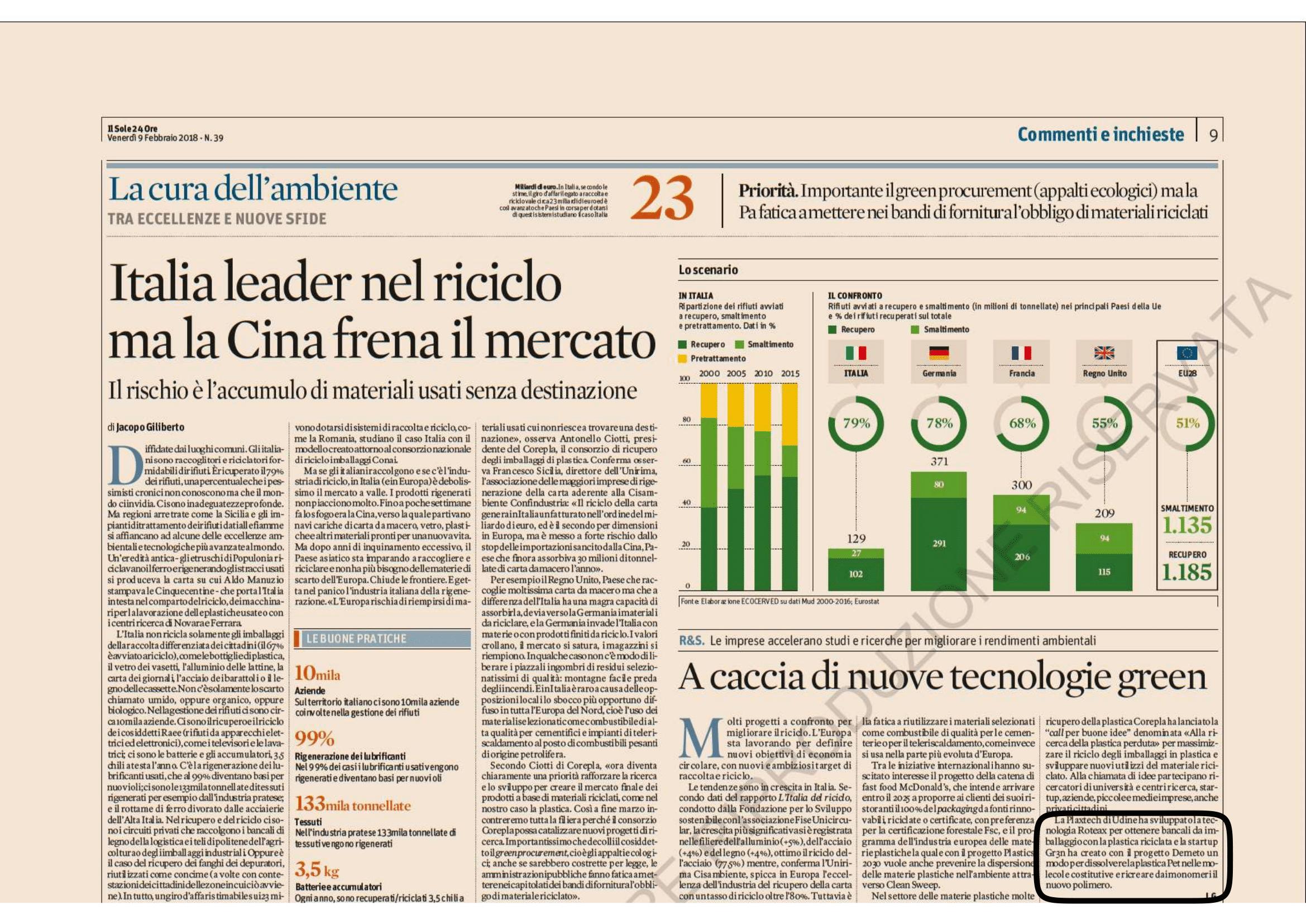 Italia leader nel riciclo ma la Cina frena il mercato 15